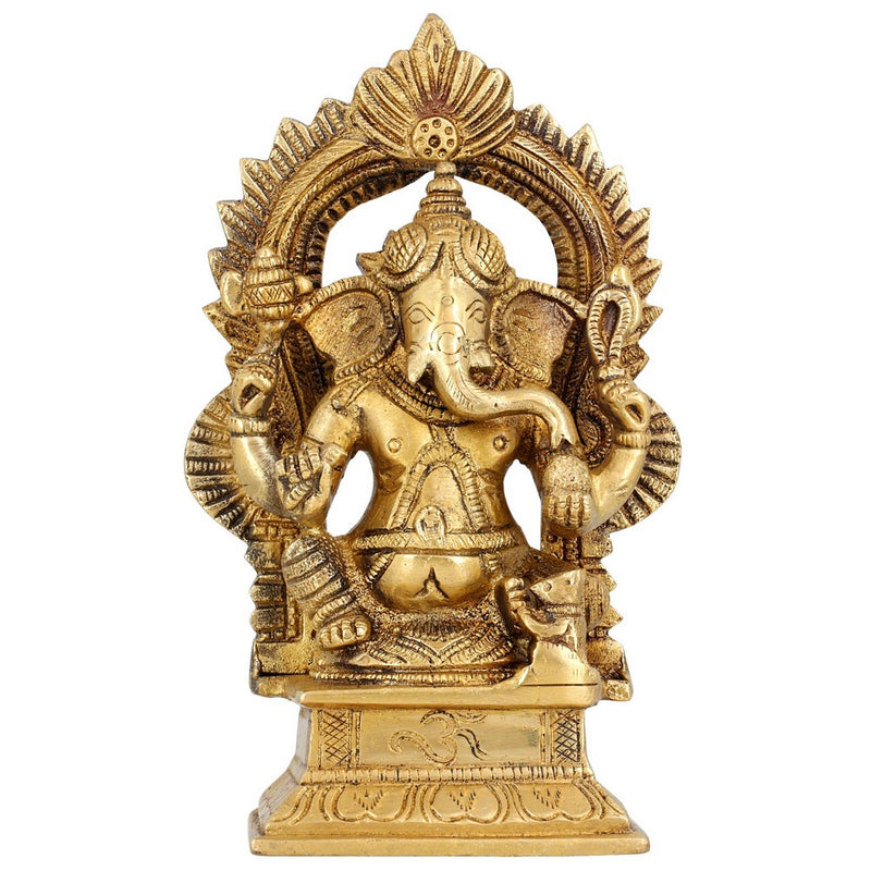 Religious Gifts Brass Metal Art Home Décor God Of Luck Seated Lord Ganesha For Puja 6.5 Inches