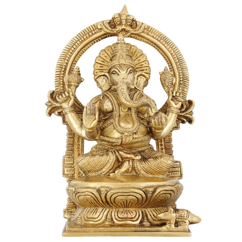 Lord Ganesha Sitting Home Décor 9.5 Inches Indian Art Religious Gifts Brass Statue