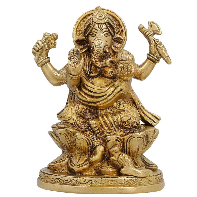 Sitting On Lotus Hindu God Decor Ganesh Sculpture Religious Gifts 5 inch