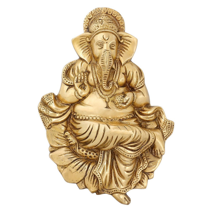Hindu God Decor Statue Of God Ganesha Religious Decals Brass Figurines 9.5 inch