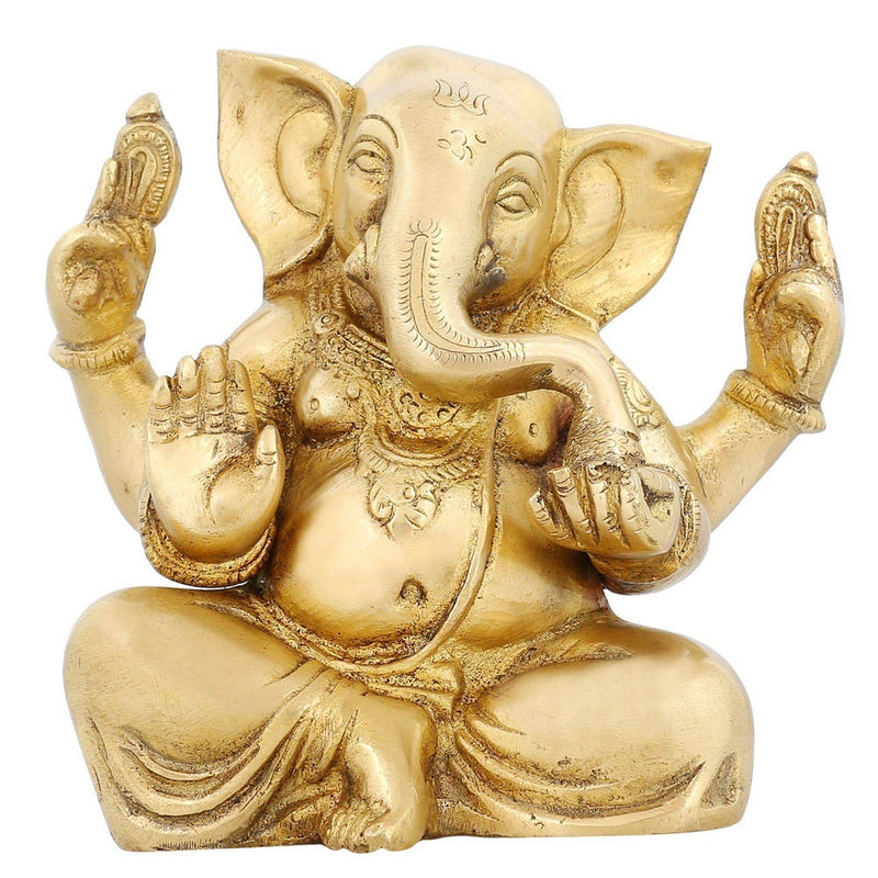 ShalinIndia Ganesha Sitting Posture Brass Sculpture - 5.5 inch X 5.5 inch X 3 inch - Brass - Perfect as Household Decor - An Excellent Gift for Any Occasion