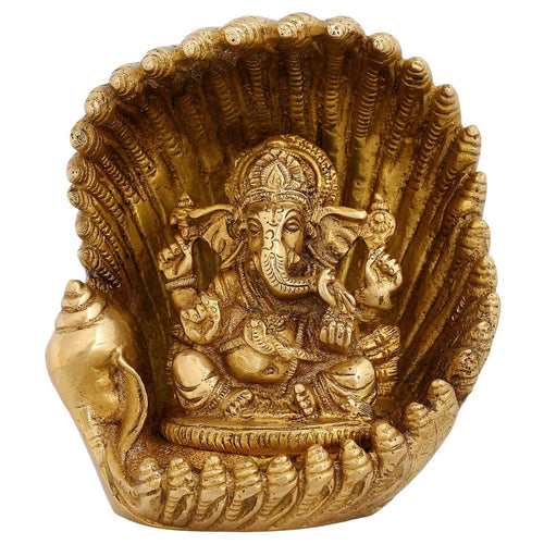 Indian Handmade Ganesha Art Work Hindu God Idols Religious Décor 8 inch Hinduism
