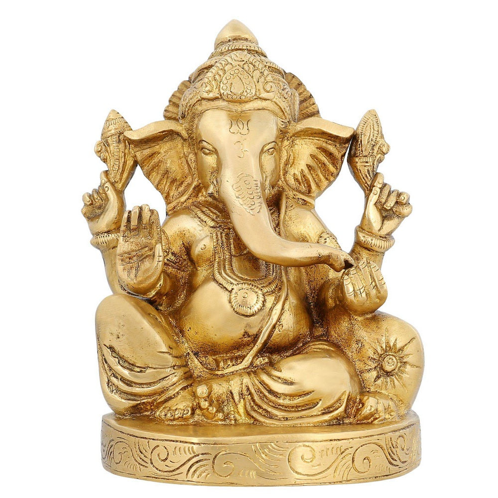 Ganesha Statue Brass Hinduism In India Religious Items Hindu Temple Puja  6 5 inch -2 05 kg