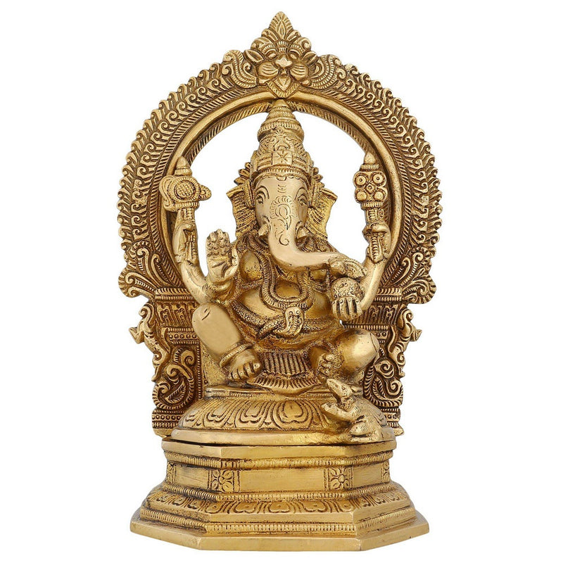 Indian Art Ganesha Statue Large Brass Figurines Hindu temple Puja Mandir 9.5 inch -3.12 kg