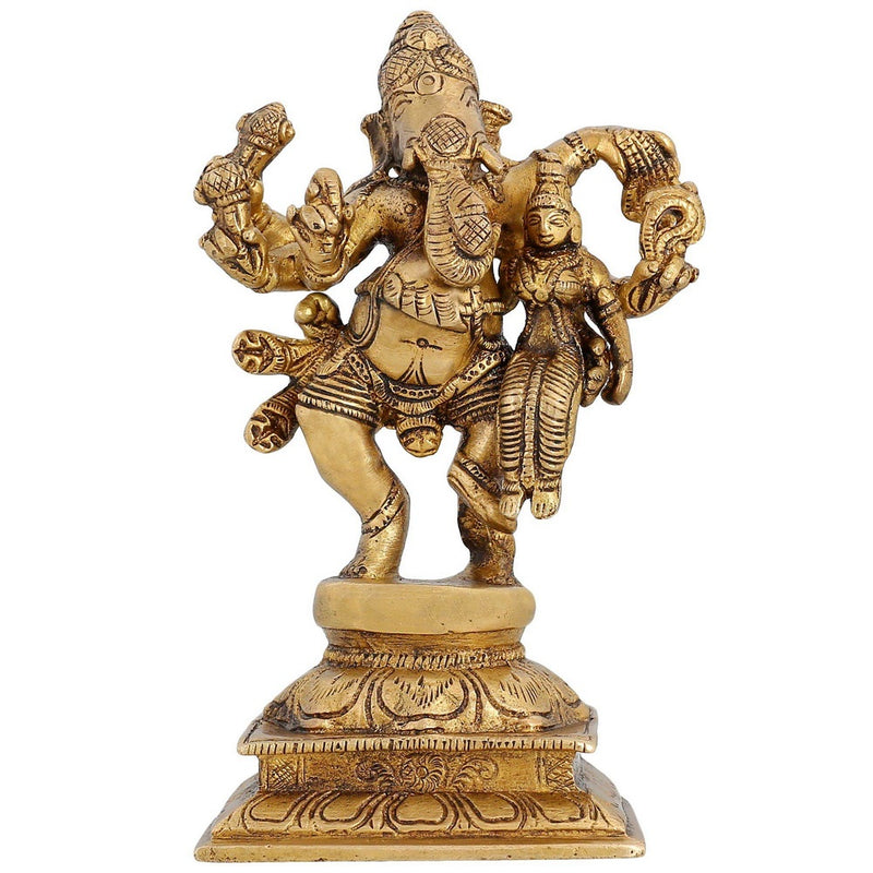 Indian Decor Religious Figure Lord Ganesha With His Consort Siddhi 6 inch -1.05 kg