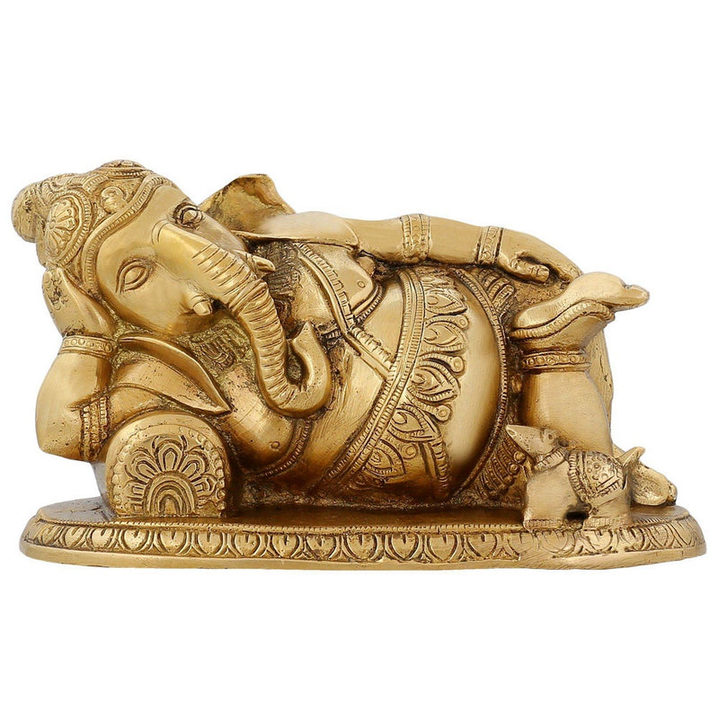 Indian Statue Lord Ganesha Resting Hinduism Decoration Hindu Brass 4 inch