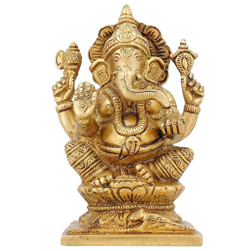 Ganesha Sculpture Hindu Décor Religious Gifts Brass Hinduism Symbol 4.5 inch