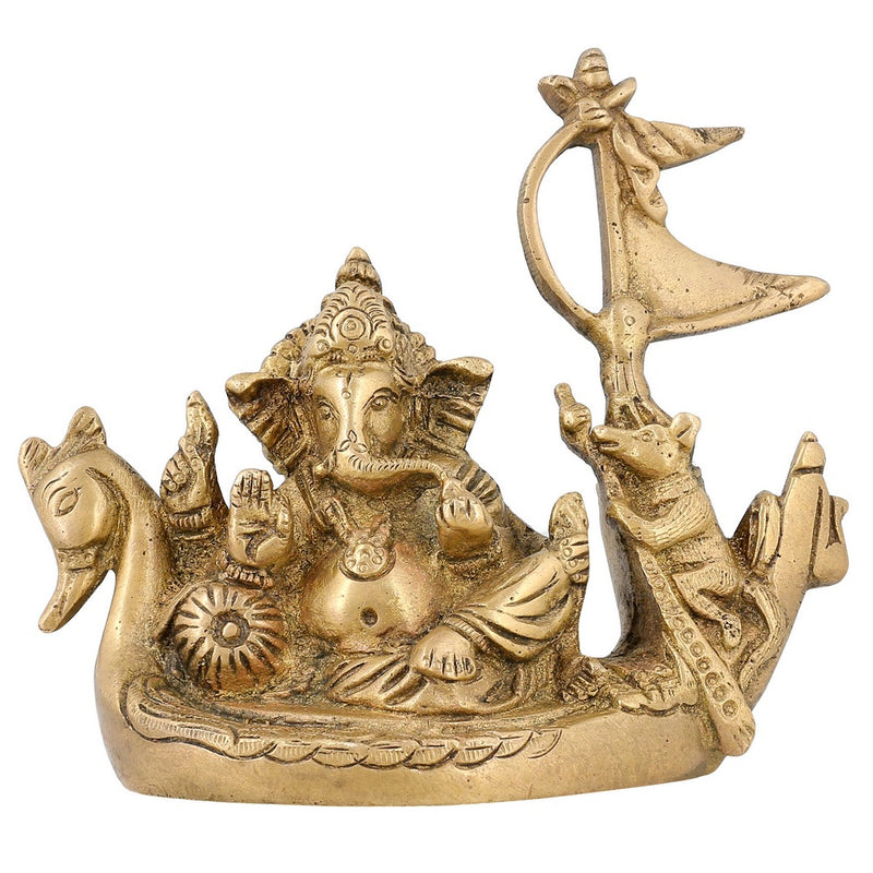 Indian Art Brass Statues And Sculptures Ganesha Gifts India Style Décor 4.5 inch