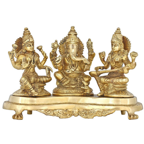 Hindu God Ganesha and Goddesses Lakshmi and Saraswati for Puja Diwali Décor