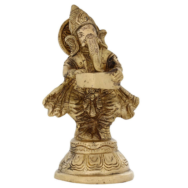 Religious Gifts Ganesha Brass Statue Playing Hormonium