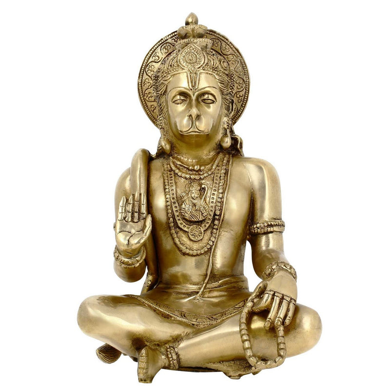 Religious Gifts Sitting Lord Hanuman Brass Statue Hindu Decor Indian 11 Inch