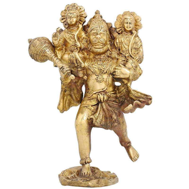 Hindu God Hanuman Carrying Lord Rama and Laxman Brass Idol for Puja Height: 8 Inches Weight: 1.72 Kg