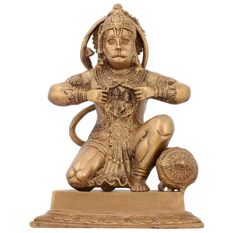 Religious Brass Statue Hanuman Monkey God Hindu Idol For Puja 8.75 inch2.8 Kg