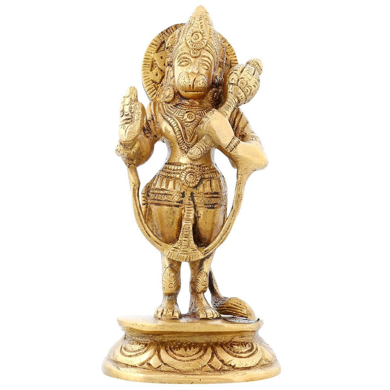 Standing Hanuman Statue Hindu Puja Idol For Home Décor Brass 6.75 inch950 Grams