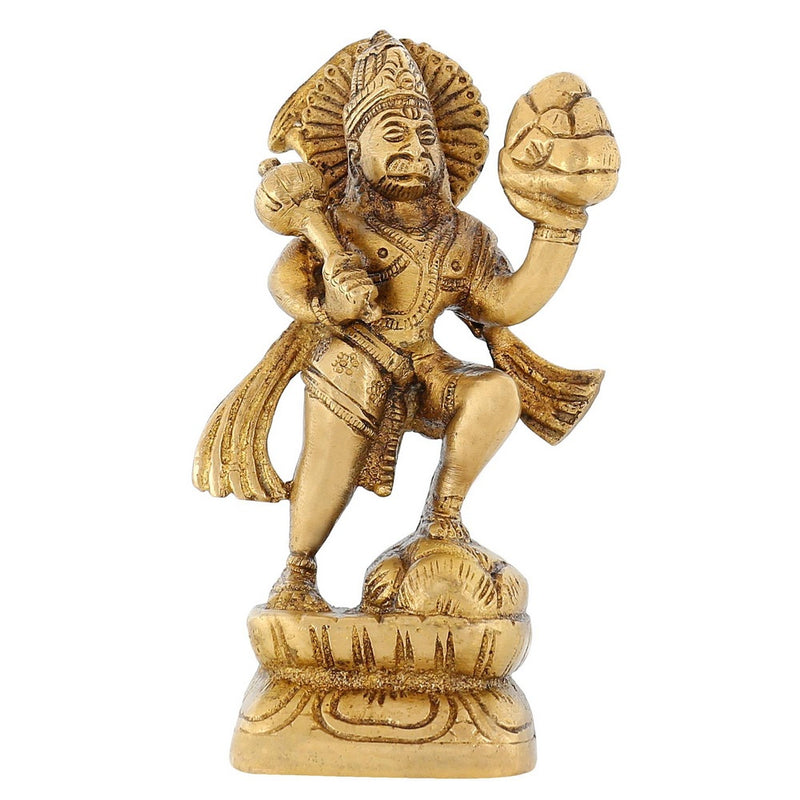 Brass Statue Religious Décor Lord Hanuman For Puja Mandir 5 inch Indian675 Grams