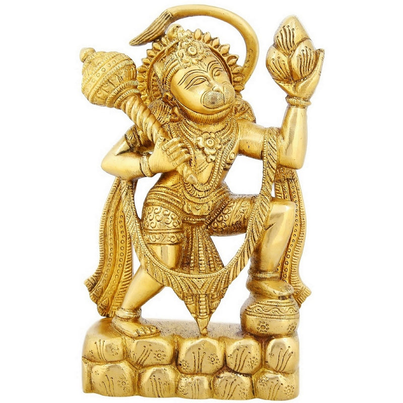 Religious Brass Statue Hanuman Monkey God Hindu Idol For Puja 8.5 inch2.5 Kg