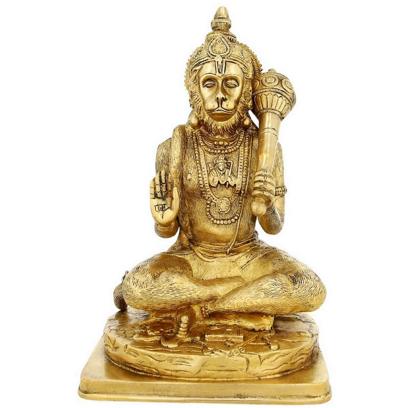 Large Brass Statue Hanuman Monkey God Hindu Idol For Puja Mandir Temple 12 inch5.1 Kg