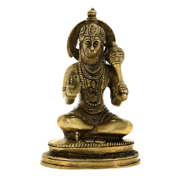 Hindu God Hanuman Statue Brass Decor Indian, H: 5.75 Inches, W: 1 Kg