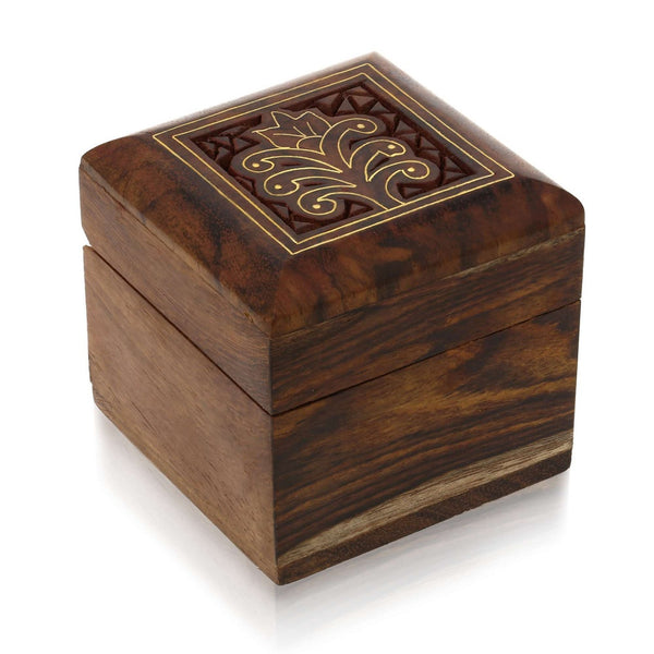 Handmade Indian Wooden Box for Jewelry -Perfect for Rings Earrings ToeRings & Cuff Links-Wood Trinket Box