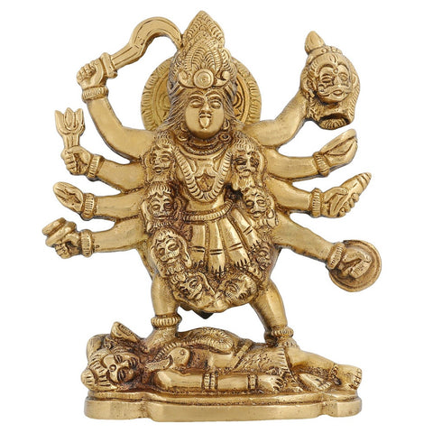 Ma Kali Goddess Statue Hindu Idol For Puja Worship At Home Mandir 6.5 inch,1.4 Kg