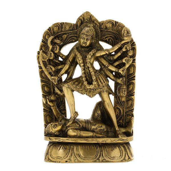 Figurine Ma Kali Durga Hindu Sculpture and Statue Indian, H: 6.5 Inches, W: 1.5 Kg