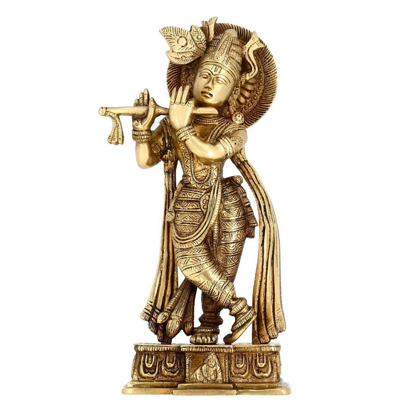 Hindu God Statue Lord Krishna Playing Murli Brass Metal Art 9.5 Inches