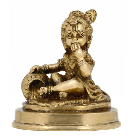 Hindu Sculpture God Krishna with Cow Brass Metal Art 4 Inches