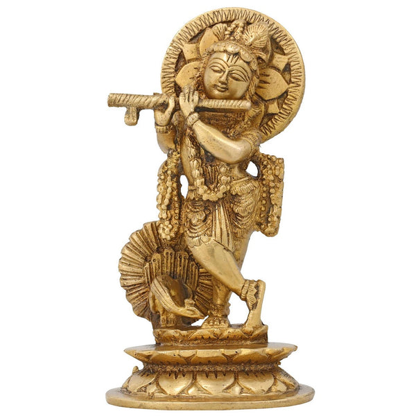 Statue Krishna Playing Flute Sculpture Figurine Hindu Décor Brass 5.5 Inch