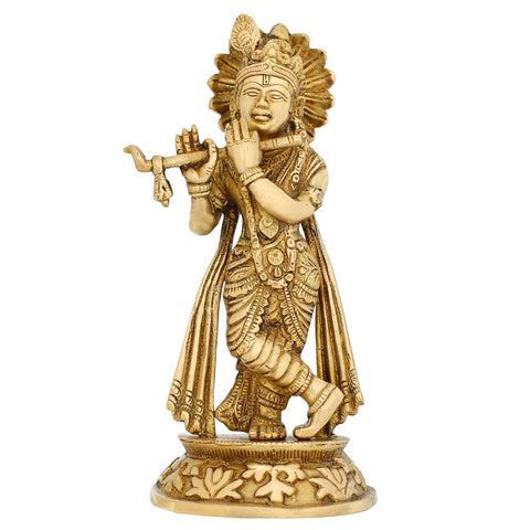 Hindu God Idol Krishna Playing Flute for Puja Home Décor Brass 7.75 Inch Religious gift