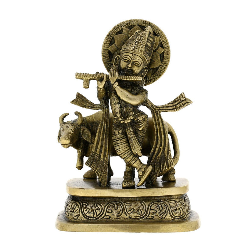 Lord Krishna Brass Figurines Hindu Religious Sculpture