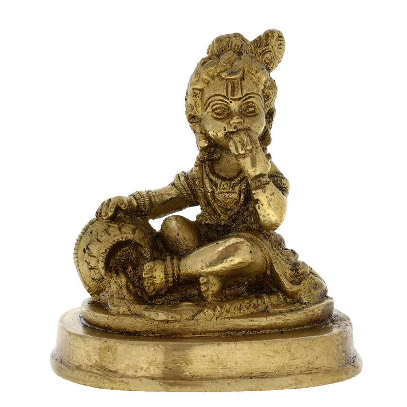 Hindu God Statue Child Krishna Eating Butter from a Pot 4 Inches Size: H - 4 Inches L - 3.5 Inches W - 3 Inches Weight: 0.72 KG