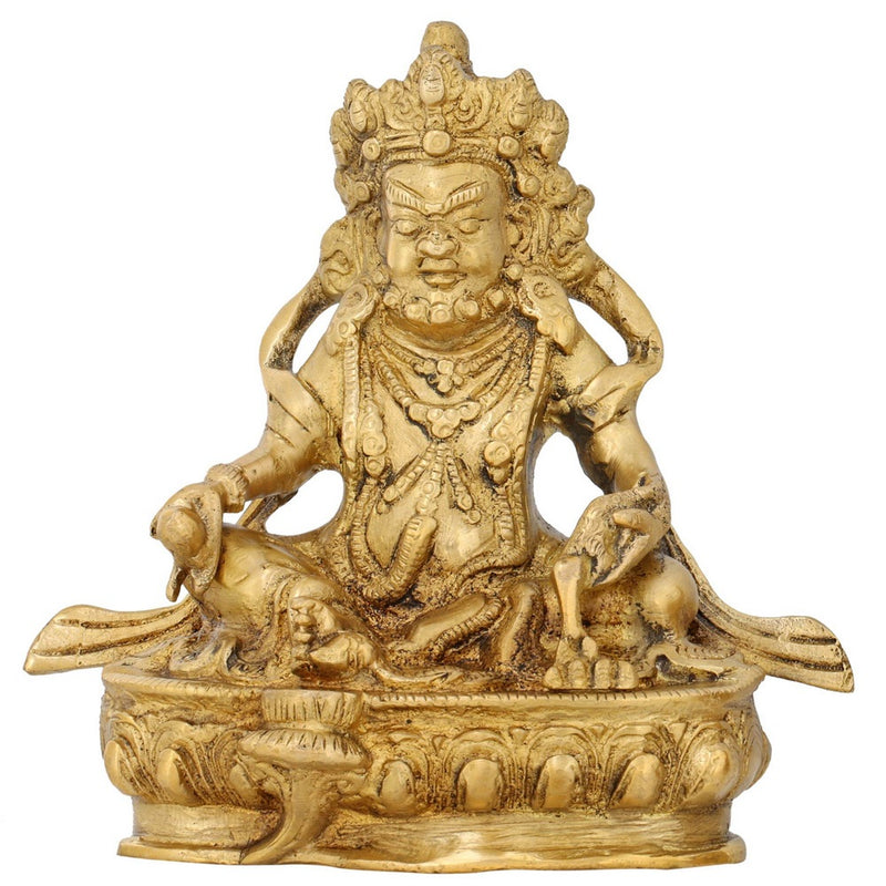 Kuber Statue Figurine Hindu God of Wealth Diwali Puja Brass 5.5 Inch
