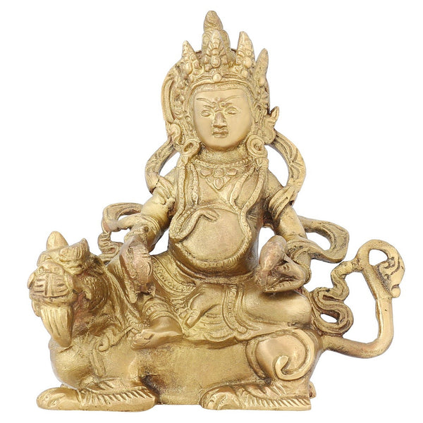 Religious Gifts Kuber Hindu God Of Wealth Diwali Puja Brass Statue 6 Inch,1.2 Kg