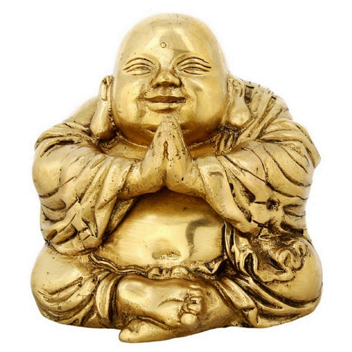 Buddhist Art Brass Statue Of Laughing Buddha Religious gift 4 Inch Weight 1.07 kg