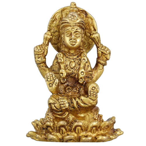 Hindu Goddess Lakshmi Pooja for Wealth Sculpture Metal Brass