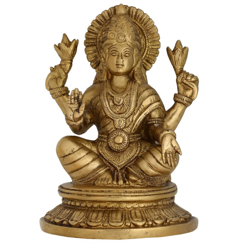 Hinduism Decor Goddess Laxmi Statue Religious Gift Brass Size:H-8L-5.5W-5.25 Inches Weight:2.4 Kg
