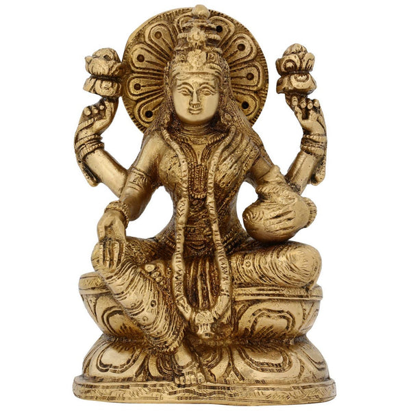 Sculptures And Figurines Of Hindu Goddess Laxmi Brass Tapestry 6 Inches