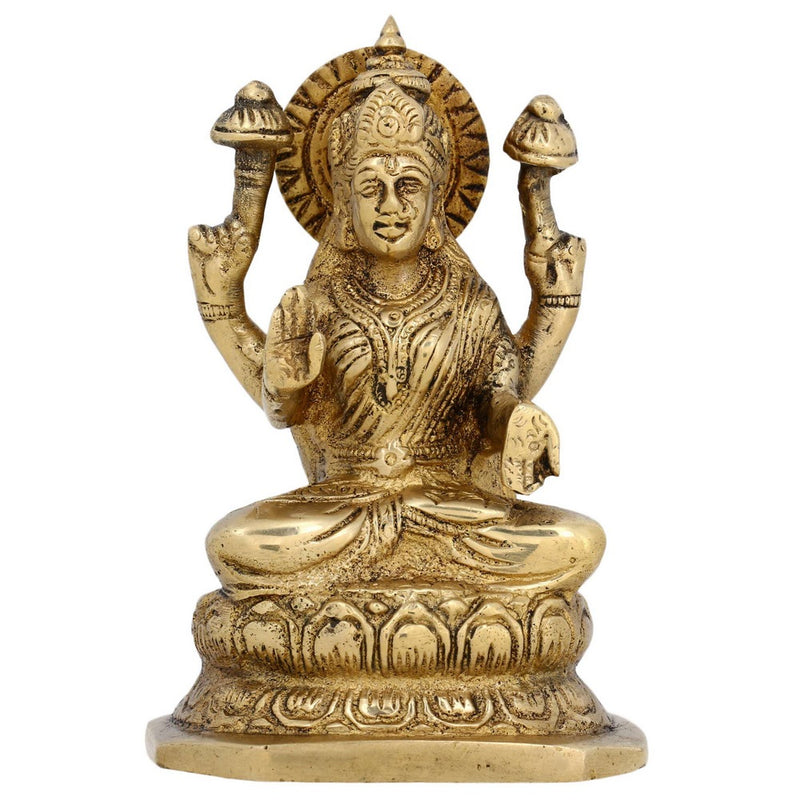 Religious Gift Hinduism Decor Brass Sculpture Seated Hindu Goddess Laxmi H: 5 Inches W: 1 Kg