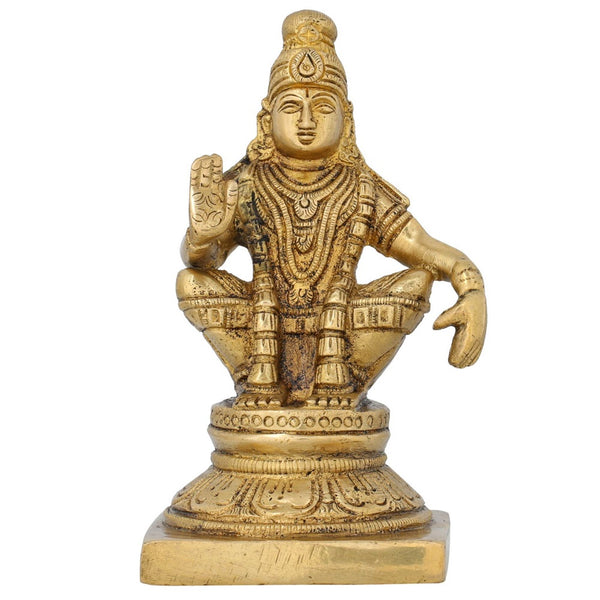Indian Art Brass Statue Swami Ayyappan Hindu Idol For Puja Temple 5 Inch