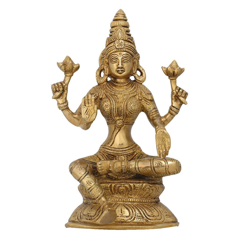 Goddess Lakshmi Brass Statue Hindu Idol Puja Gifts Indian Art 8 Inch Weight 1.5 Kg
