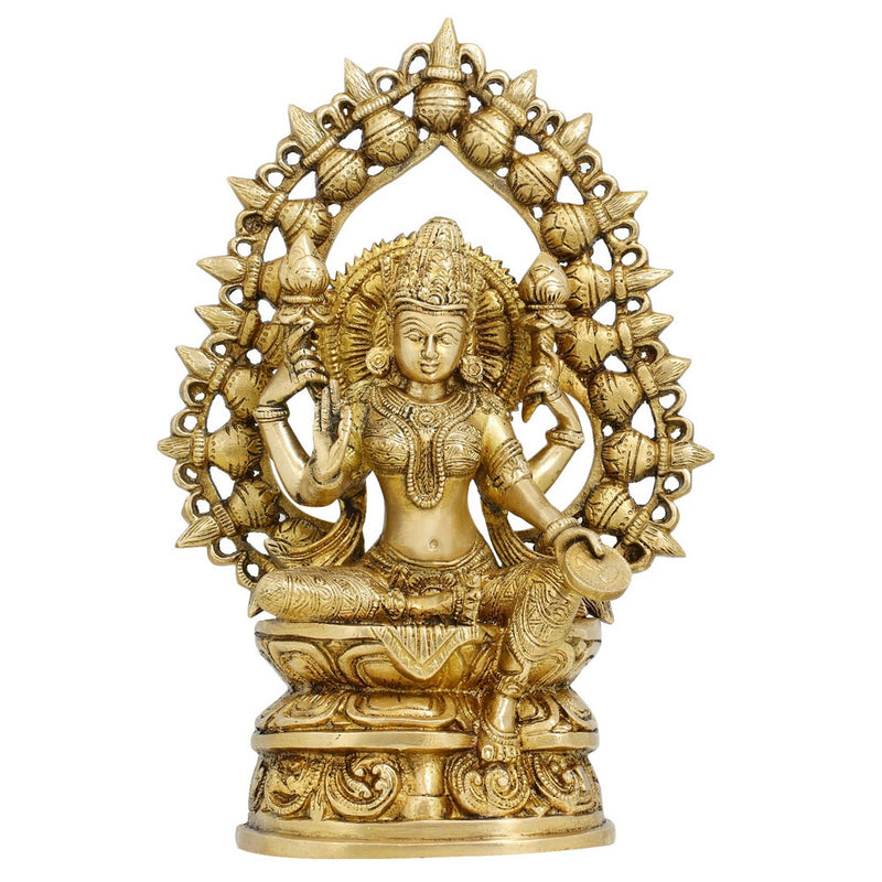 Statues And Figurines Goddess Laxmi Sculptures Hindu Home Decor In Brass 10.5 Inches Weight 2.92 kg