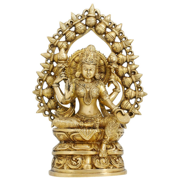 Statues And Figurines Goddess Laxmi Sculptures Hindu Home Decor In Brass 10.5 Inches