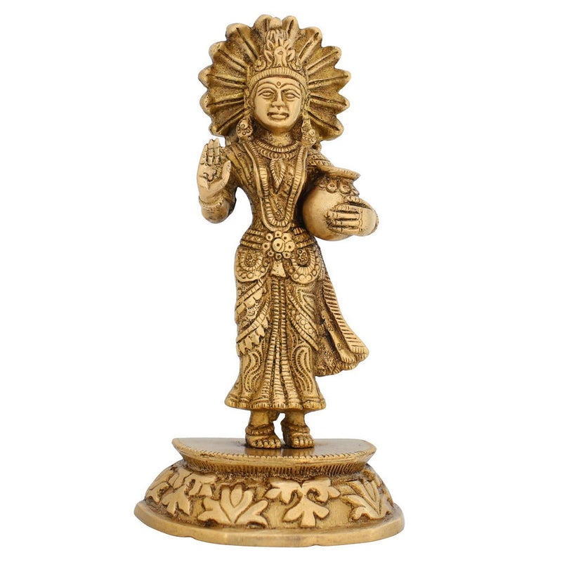 Hinduism Decor Goddess Dhan Laxmi Statue Religious Gift Brass 7 Inches Indian Art Weight 920 grams
