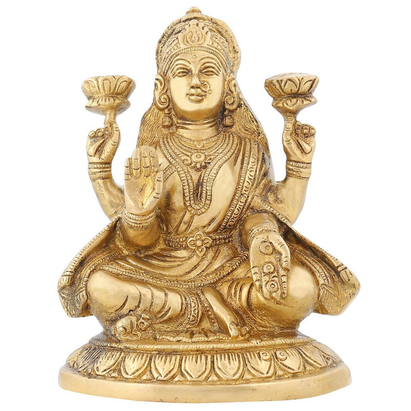 Hinduism Decor Goddess Lakshmi Brass Metal Statue For Puja Diwali 7 Inch1.9 Kg