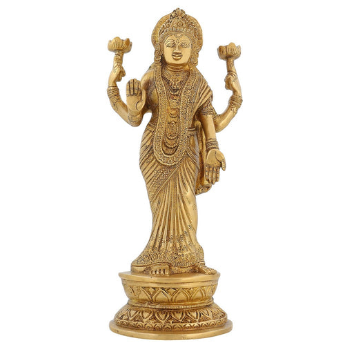 Large Statue Indian Décor Goddess Laxmi Brass Hindu Puja Mandir 11 Inch2.4 Kg