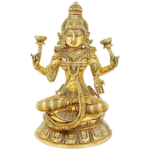 Hinduism Symbol Goddesses Laxmi Large Statue Brass Religious Gifts 11 Inch3.2 Kg