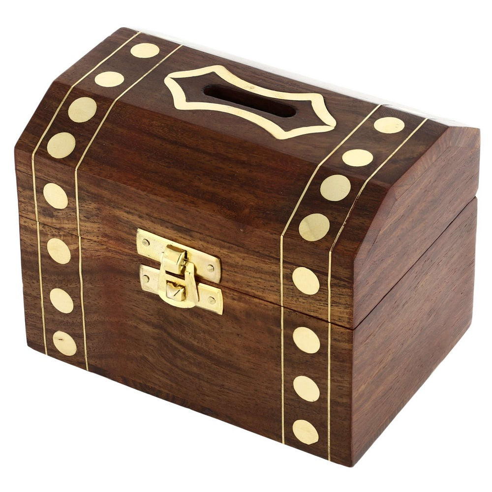 Indian coin bank money saving box banks for kids adults wood vacation piggy