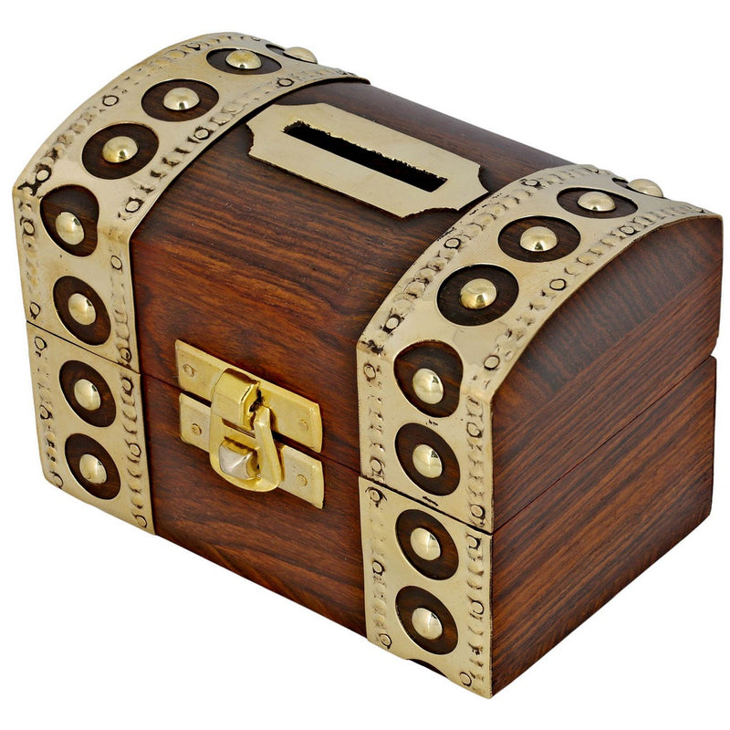 Vintage Inspired Wooden Money Bank with Brass Accents - Money Box for Kids
