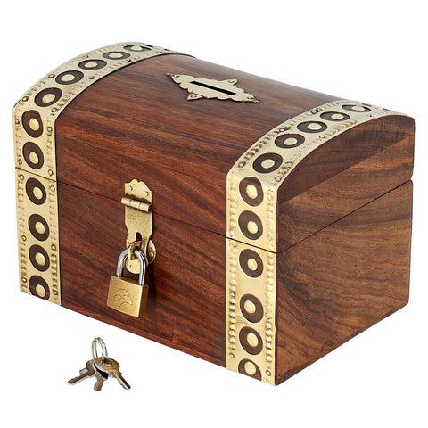 Antique Inspired Handcrafted Wooden Treasure Chest Money Box with Padlock and Key, Family Size