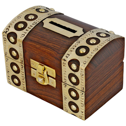Vintage Inspired Wooden Money Bank with Brass Accents - Money Box for Kids money_box_curved